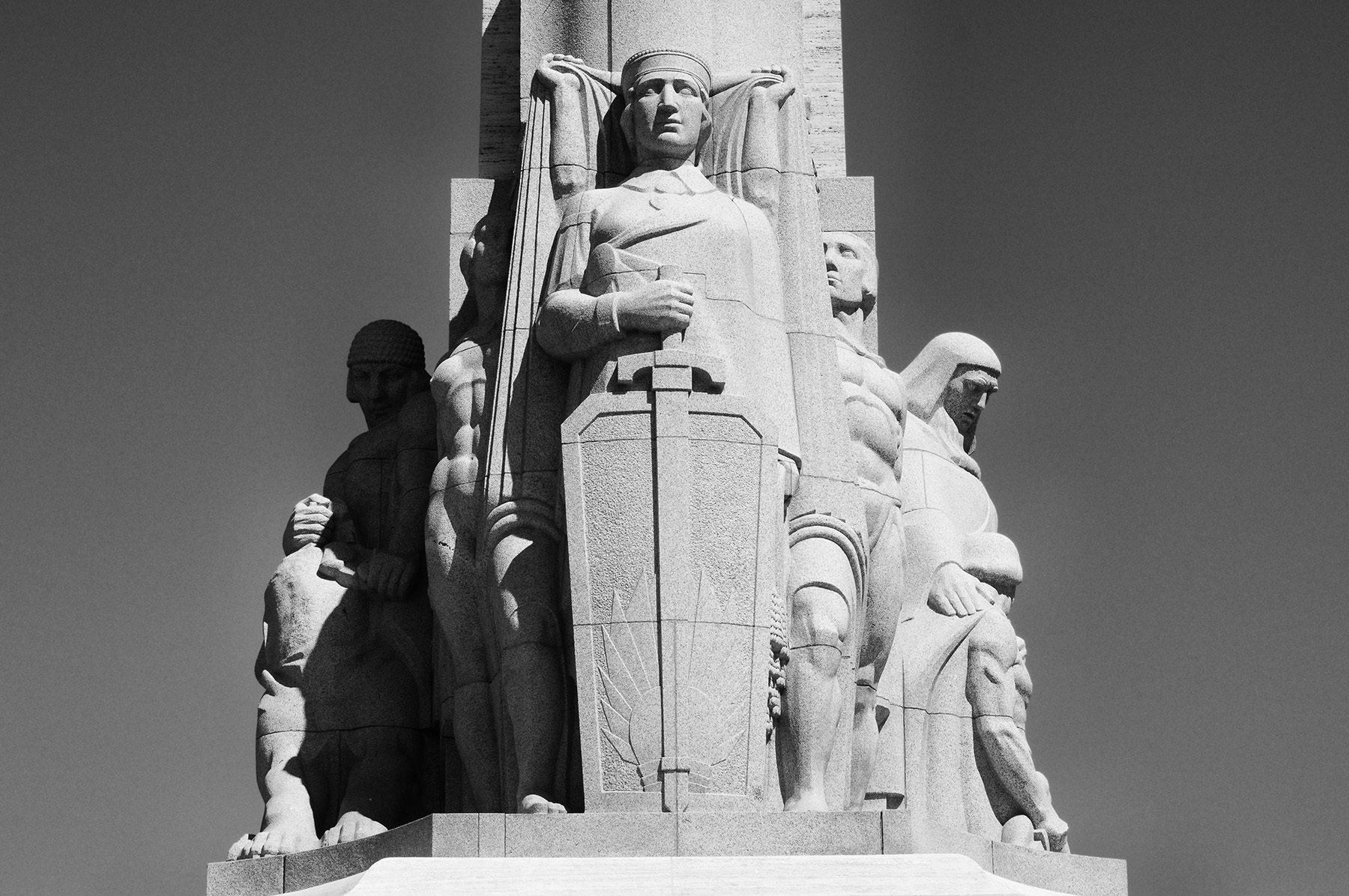 Guard of the Fatherland statue atop base of Latvian Freedom Monument. Photo: Wikimedia
