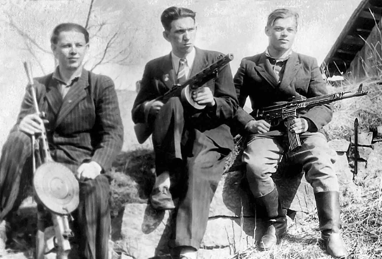 Three Latvian forest brothers in the small town of Ērgļi, Latvia 1951. Photo: Wikimedia