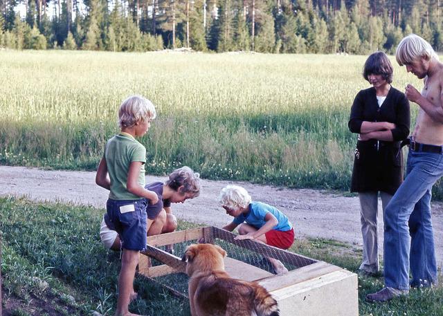Beundran av Lasses kaninbur på Drabo sommaren1971026
