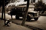 Busstopp i Kabul