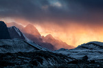 Skymning över Södra Inylchek-glaciären