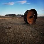gruvvagnshjul fortfarande på väg