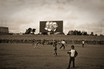 Marx, Engels och Lenin vakar över idrottsområdet i Addis