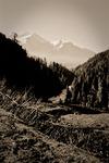 Floden Lidders dalgång ovanför Pahalgam Kashmir