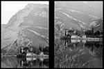 Diptyk - vy över sjö i Italien.