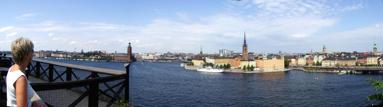 Panorama Lena blickar ut över Riddarfjärden från Söder