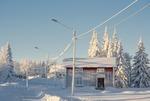 Byn som är inbäddad i snö