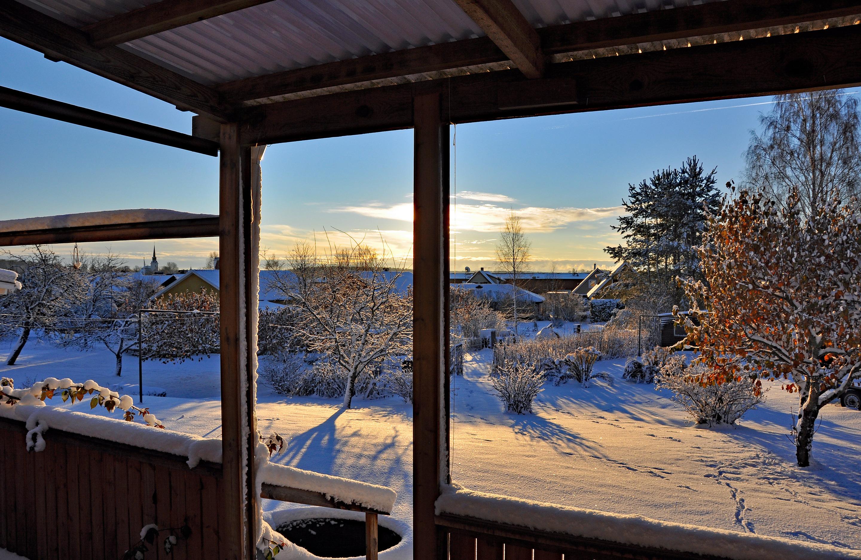 DSC_0003 Första vyn över vår trädgård som hade fått den första snön