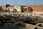 Garverierna i Marrakesh - vy mot norr vid arbetsdagens slut