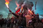 Pyroteknisk avslutning på antinazidemonstration