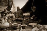 Afghanska Kuchi-nomader utanför Gupto Ganga